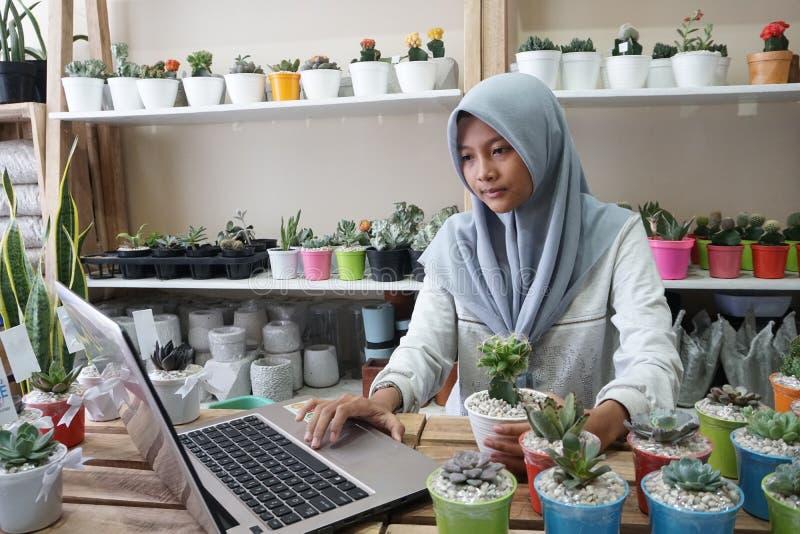 Μια μουσουλμανική επιχειρηματίας πωλεί τις succulent εγκαταστάσεις στο διαδίκτυο Διοργανώνει ένα καθαρό και άσπρο εργαστήριο στοκ εικόνες