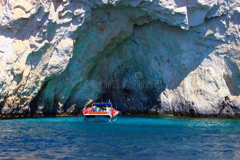 Μια μπλε σπηλιά, Ζάκυνθος, Ελλάδα στοκ εικόνες