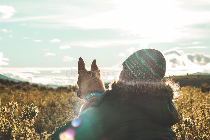 Μια νέα γυναίκα που αγκαλιάζει και που φιλά το σκυλί της στο ηλιοβασίλεμα στοκ εικόνες με δικαίωμα ελεύθερης χρήσης