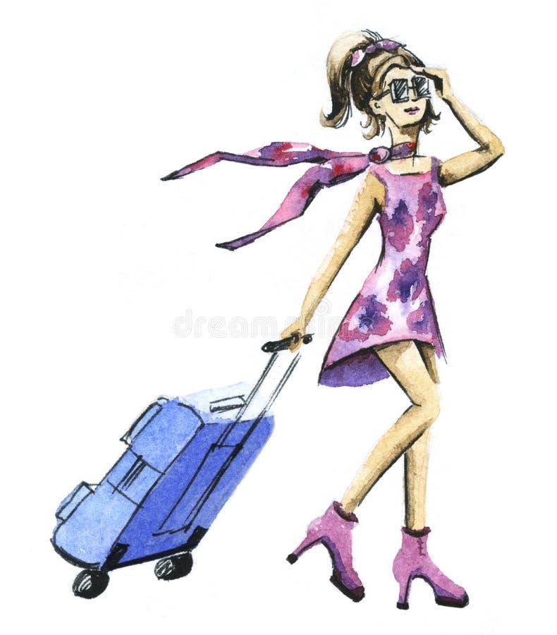 Μια νέα γυναίκα που ταξιδεύει με την απεικόνιση Watercolor βαλιτσών απεικόνιση αποθεμάτων