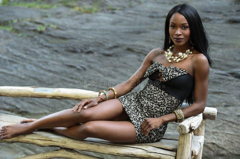Μια νέα θηλυκή γυναίκα αφροαμερικάνων που φορά την κομψή τοποθέτηση φορεμάτων στο πάρκο στοκ εικόνες