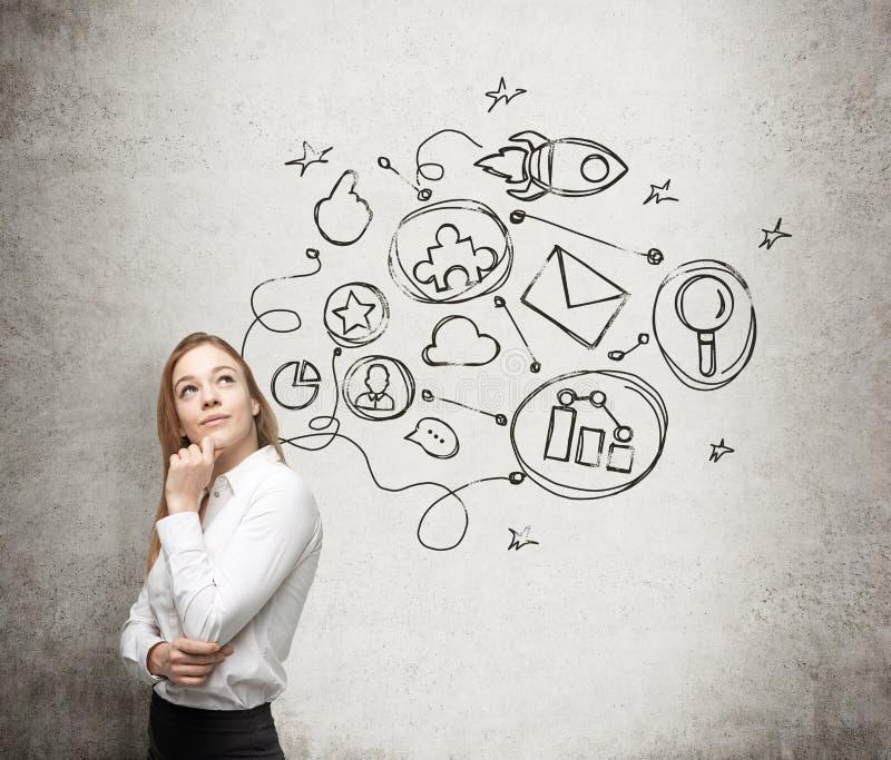 Μια νέα κυρία σκέφτεται για ένα σχέδιο βελτιστοποίησης σε κάποια επιχειρησιακή διαδικασία Μερικά συνδεδεμένα εικονίδια επισύροντα στοκ εικόνα