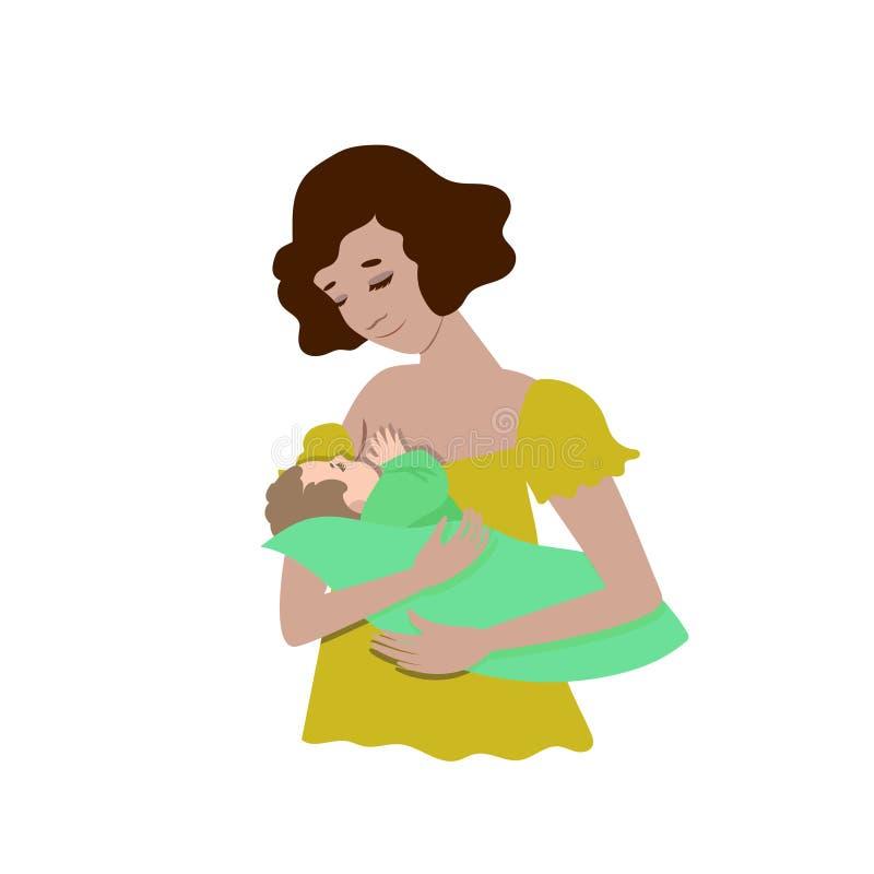 Μια νέα μητέρα θηλάζει το μωρό της o Διανυσματική τέχνη συνδετήρων ελεύθερη απεικόνιση δικαιώματος