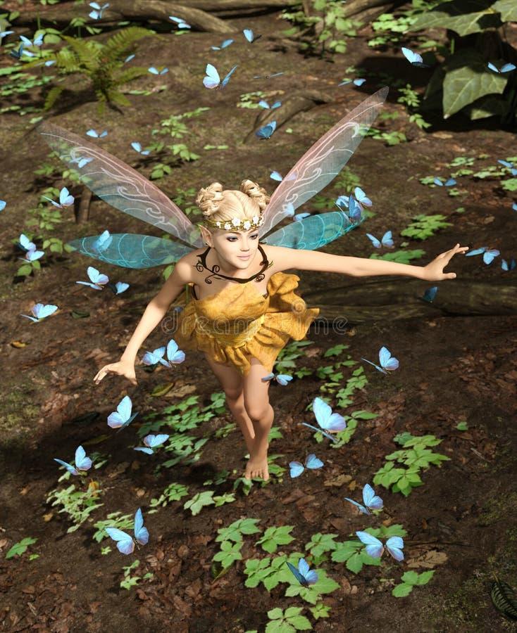 Μια νεράιδα που πετά σε ένα μαγικό δάσος διανυσματική απεικόνιση