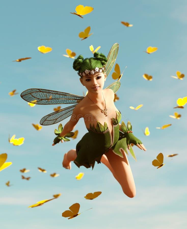 Μια νεράιδα που πετά στον ουρανό διανυσματική απεικόνιση