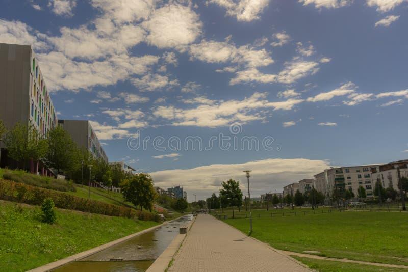 Μια νεφελώδης θερινή ημέρα σε ένα δημόσιο πάρκο στοκ φωτογραφία με δικαίωμα ελεύθερης χρήσης