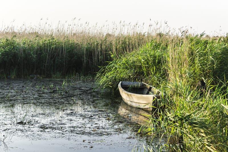 Μια ξύλινη βάρκα αλιείας στα ξημερώματα στοκ φωτογραφία