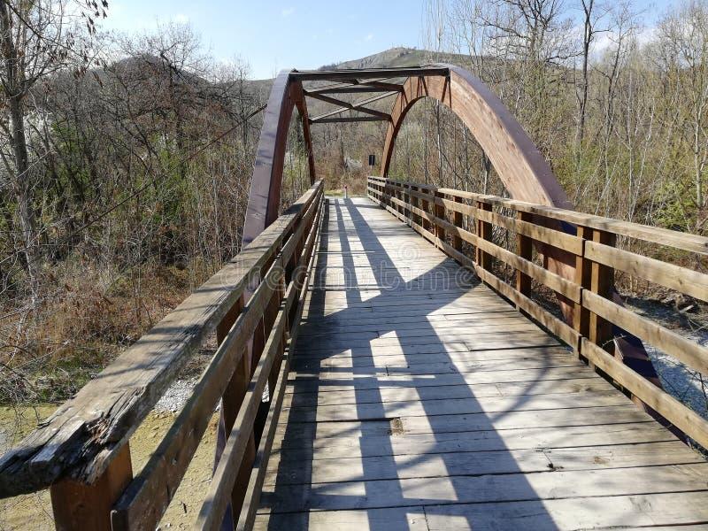 Μια ξύλινη γέφυρα με έναν ημικυκλικό ξύλινο υπόγειο θάλαμο στοκ εικόνες