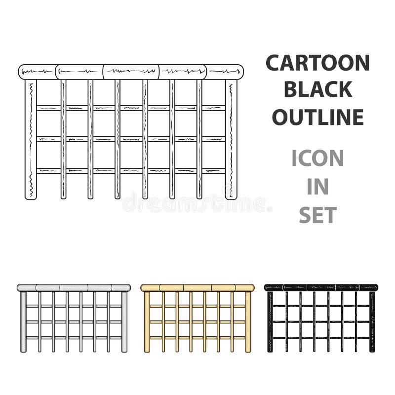 Μια ξύλινη φραγή Ένα διαφορετικό ενιαίο εικονίδιο φρακτών στο διανυσματικό Ιστό απεικόνισης αποθεμάτων συμβόλων ύφους κινούμενων  απεικόνιση αποθεμάτων