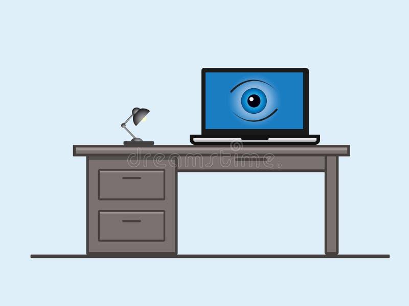 Μια οθόνη lap-top με ένα μάτι διανυσματική απεικόνιση