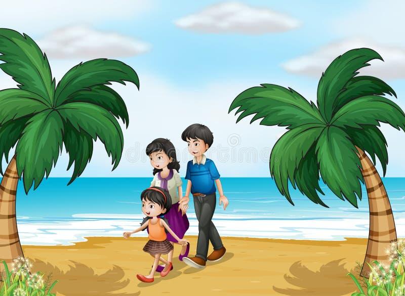 Μια οικογένεια που περπατά στην παραλία διανυσματική απεικόνιση