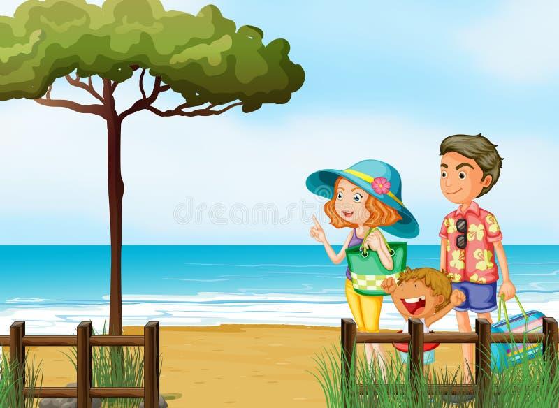 Μια οικογένεια στην παραλία ελεύθερη απεικόνιση δικαιώματος