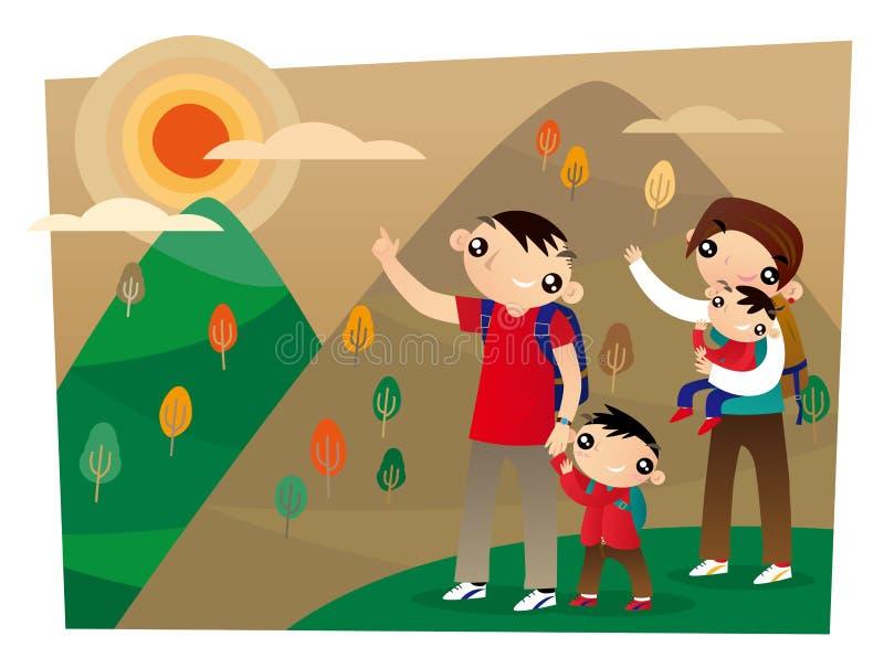 Μια οικογένεια του Χογκ Κογκ αναρριχείται σε μια υψηλή θέση κατά τη διάρκεια του κινεζικού διπλού ένατου φεστιβάλ διανυσματική απεικόνιση