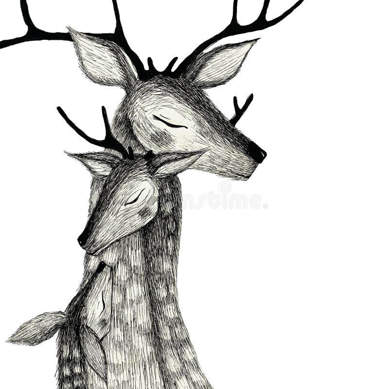 Μια οικογένεια των deers σε ένα υπόβαθρο watercolor στοκ εικόνες με δικαίωμα ελεύθερης χρήσης