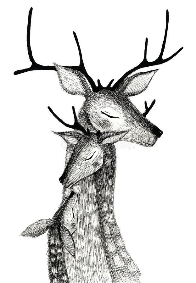 Μια οικογένεια των deers σε ένα υπόβαθρο watercolor στοκ εικόνα