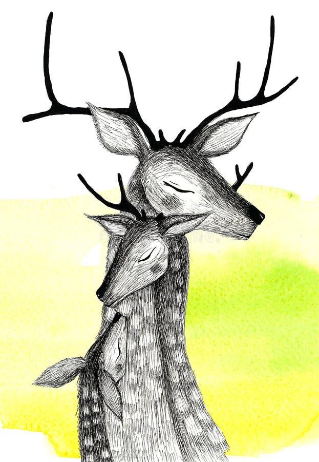Μια οικογένεια των deers σε ένα υπόβαθρο watercolor στοκ εικόνα με δικαίωμα ελεύθερης χρήσης