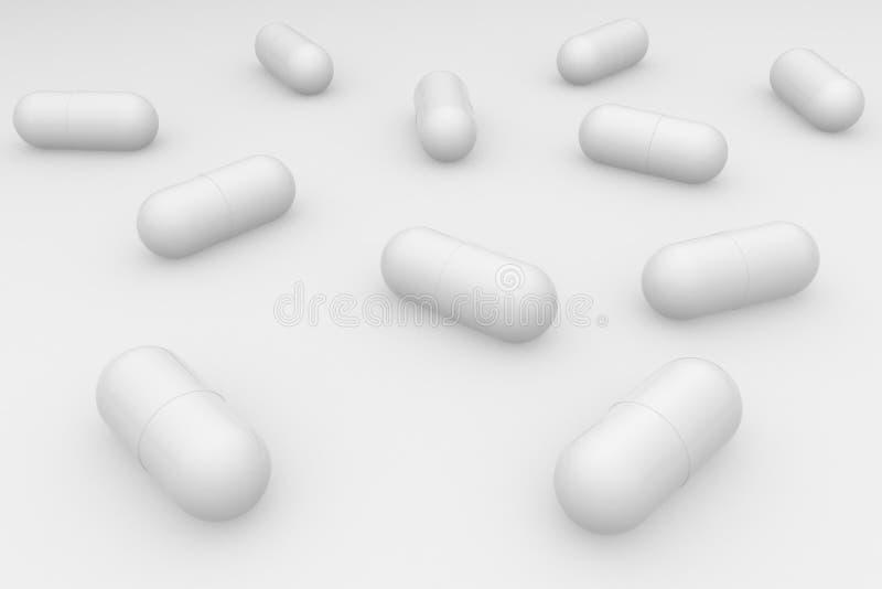 Μια ομάδα άσπρων χαπιών σε ένα άσπρο υπόβαθρο Αντιβιοτικά στην κάψα r διανυσματική απεικόνιση