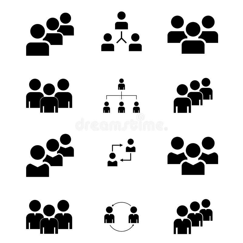 Μια ομάδα ανθρώπων ή ομάδες χρηστών Διανυσματικό επίπεδο εικονίδιο φίλων για τις εφαρμογές και τους ιστοχώρους Μαύρα εικονίδια σε απεικόνιση αποθεμάτων