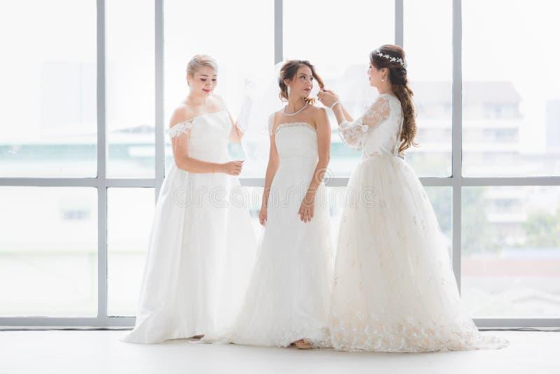 Μια ομάδα από όμορφες νύφες τακτοποιούν το φόρεμά τους στοκ εικόνα με δικαίωμα ελεύθερης χρήσης