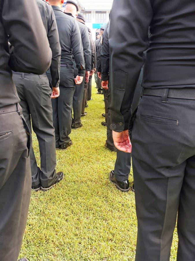 Μια ομάδα αρσενικών στρατιωτών φορά τις στολές, που στέκονται στη γραμμή στο χορτοτάπητα στοκ φωτογραφία με δικαίωμα ελεύθερης χρήσης