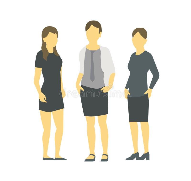Μια ομάδα γυναικών o Ομάδα των επιχειρηματιών E Ηγεσία συνεργασίας εργασίας Τρεις γυναίκες στα επιχειρησιακά ενδύματα διανυσματική απεικόνιση