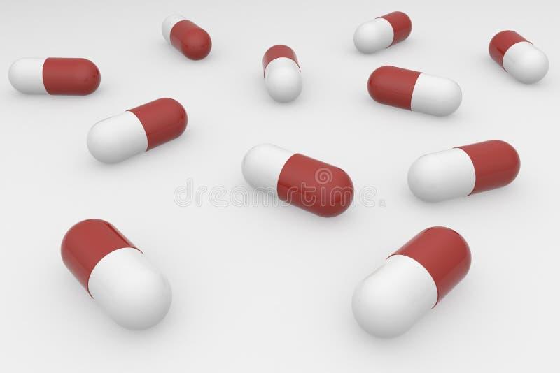 Μια ομάδα κόκκινων άσπρων χαπιών σε ένα άσπρο υπόβαθρο Αντιβιοτικά στην κάψα r απεικόνιση αποθεμάτων