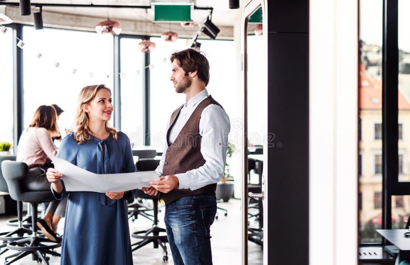 Μια ομάδα νέων επιχειρηματιών σε ένα γραφείο, εργασία στοκ φωτογραφίες