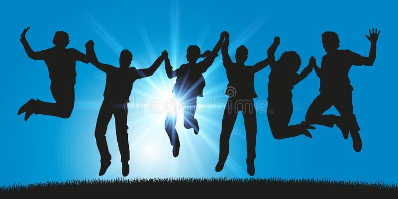 Μια ομάδα νέων πηδά για τα χέρια εκμετάλλευσης χαράς απεικόνιση αποθεμάτων