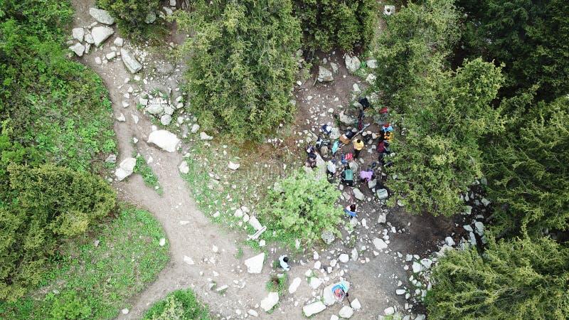 Μια ομάδα ορειβατών σταμάτησε στα ξύλα για να στηρίζεται την άποψη από τον κηφήνα στοκ φωτογραφία