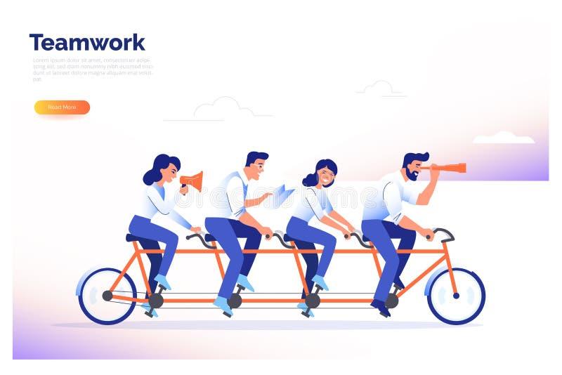 Μια ομάδα τεσσάρων επιχειρηματιών που οδηγούν ένα ποδήλατο Οι συνεργάτες εργάζονται μαζί για να επιτύχουν τους κοινούς στόχους Δι απεικόνιση αποθεμάτων