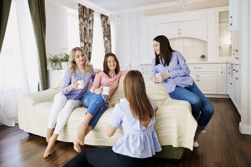 Μια ομάδα φίλων των νέων κοριτσιών μιλά σε μια συνεδρίαση σε ένα δωμάτιο στοκ φωτογραφίες με δικαίωμα ελεύθερης χρήσης