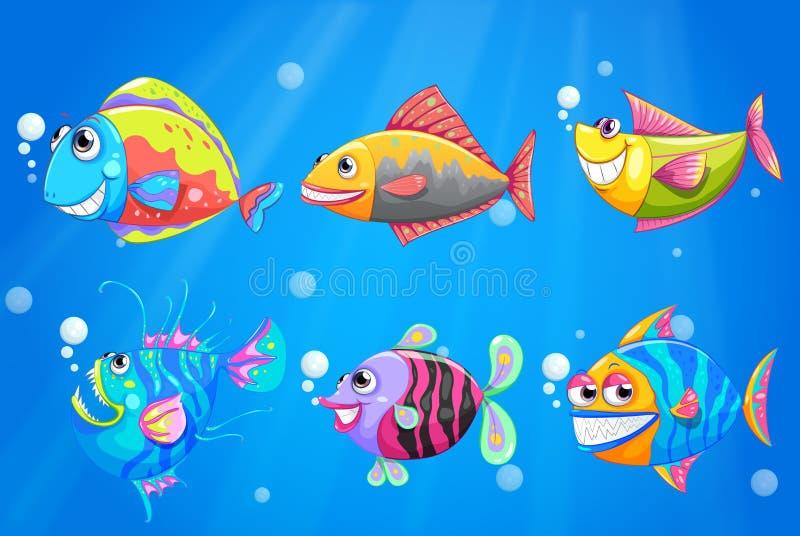 Μια ομάδα ζωηρόχρωμων ψαριών χαμόγελου απεικόνιση αποθεμάτων