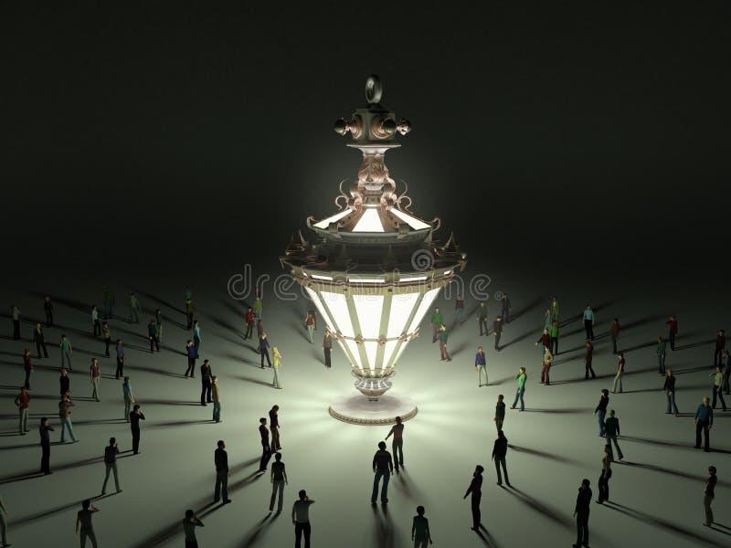 Μια ομάδα μικροσκοπικών ανθρώπων που περπατούν προς μια εκλεκτής ποιότητας λάμπα φωτός τρισδιάστατο ρ διανυσματική απεικόνιση