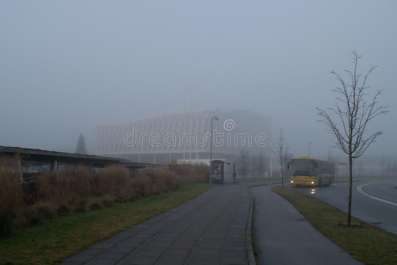 Μια ομιχλώδης ημέρα στη Δανία, Viborg το Δεκέμβριο του 2016 στοκ εικόνες