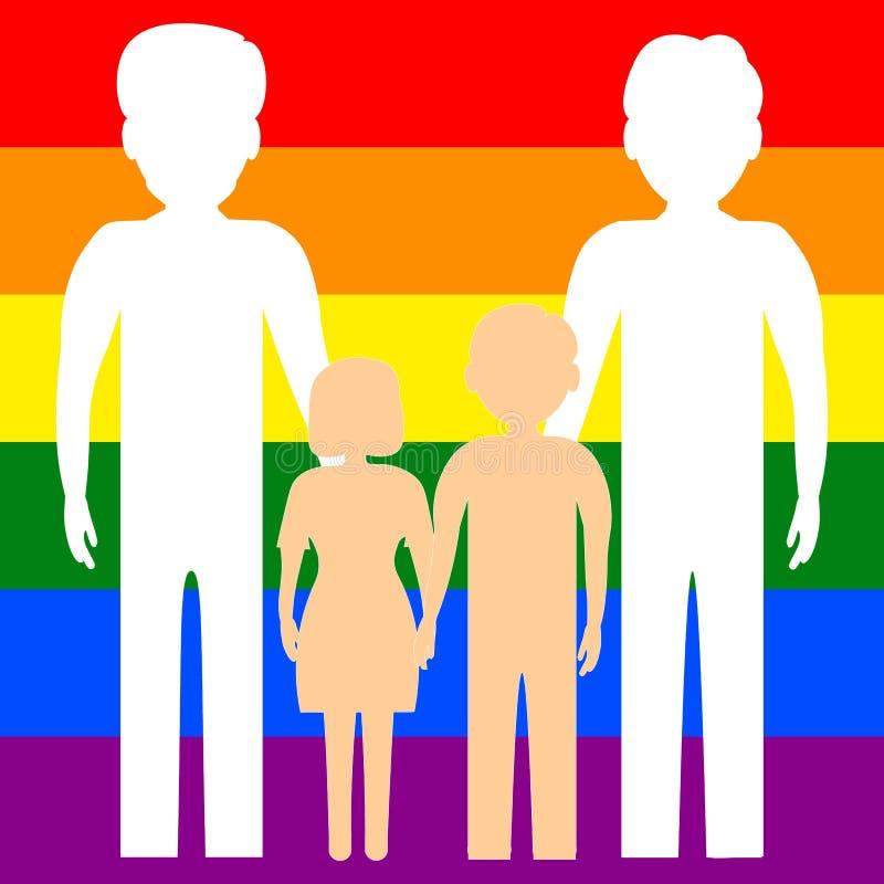 Μια ομοφυλοφιλική οικογένεια δύο ομοφυλόφιλων με τα παιδιά, ένα αγόρι και ένα κορίτσι, στα πλαίσια της σημαίας LGBT r ελεύθερη απεικόνιση δικαιώματος