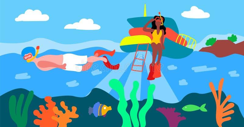 Μια περιοχή ορόσημων είναι ο μεγάλος σκόπελος εμποδίων Κολύμβηση με αναπνευστήρα σε έναν μεγάλο σκόπελο εμποδίων Πανόραμα θερινής απεικόνιση αποθεμάτων