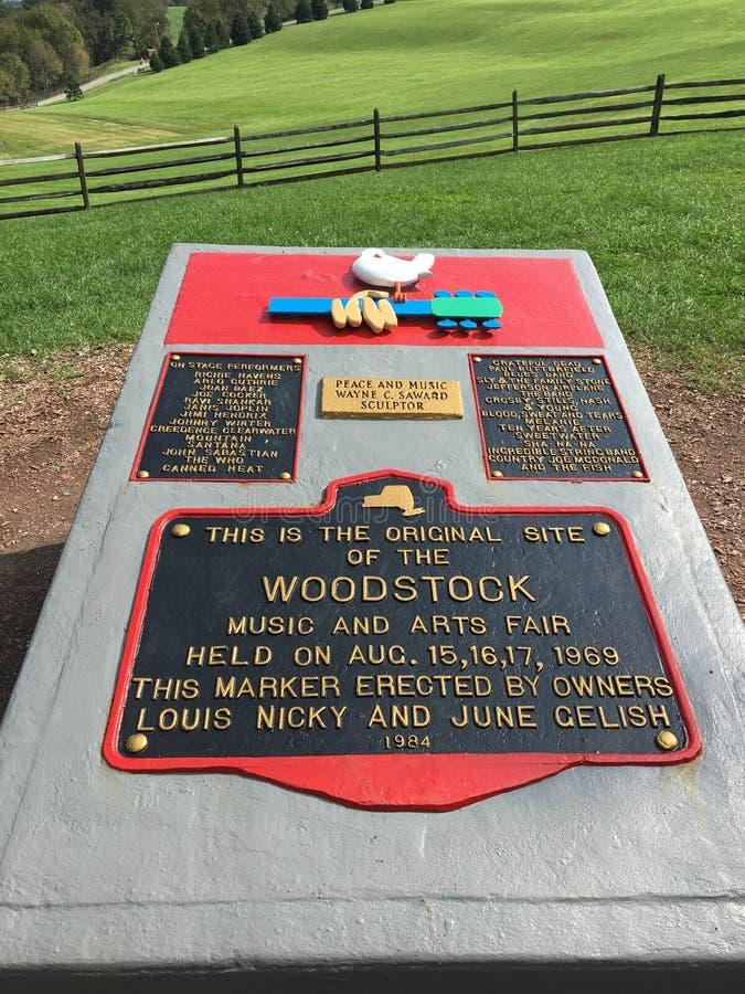 Μια πινακίδα επί του τόπου της συναυλίας Woodstock το 1969 στοκ φωτογραφία με δικαίωμα ελεύθερης χρήσης