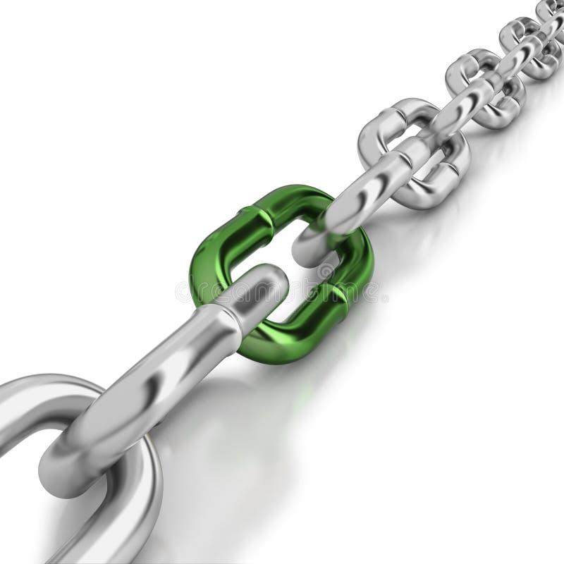 Μια πράσινη σύνδεση σε μια αλυσίδα χρωμίου απεικόνιση αποθεμάτων