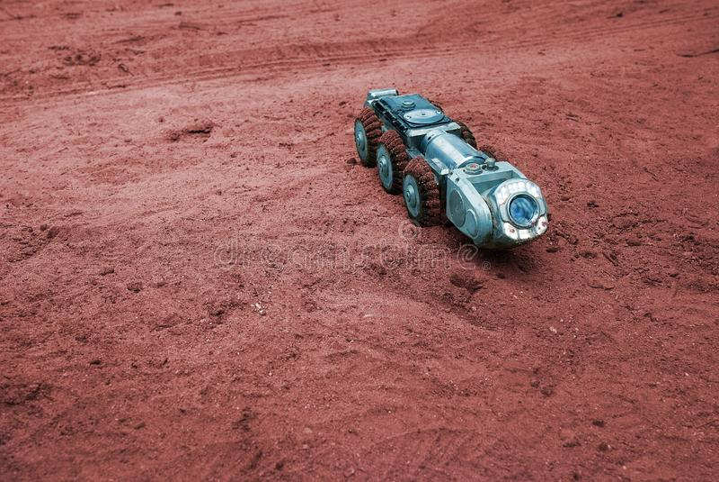 Μια πραγματική sci-Fi εικόνα, μια μηχανή στον Άρη στοκ εικόνες