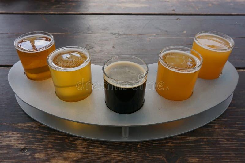 Μια πτήση των μπυρών τεχνών στοκ εικόνες