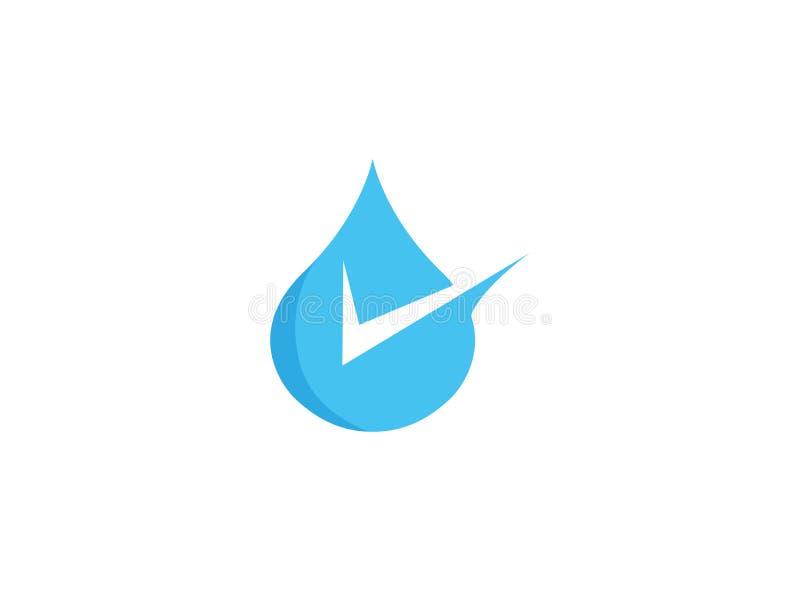 Μια πτώση του νερού με checkmark περιέρχεται στη λίμνη για το σχέδιο λογότυπων ελεύθερη απεικόνιση δικαιώματος