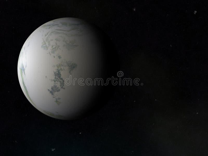 Μια πλευρά του παγωμένου πλανήτη χειμερινής γης. υπόβαθρα ουρανού κόσμου διανυσματική απεικόνιση