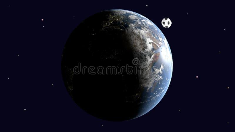 Μια ρεαλιστική σφαίρα ποδοσφαίρου είναι ένας διαστημικός δορυφόρος της γης, η Ευρώπη και η Αφρική είναι σαφώς ορατές ελεύθερη απεικόνιση δικαιώματος