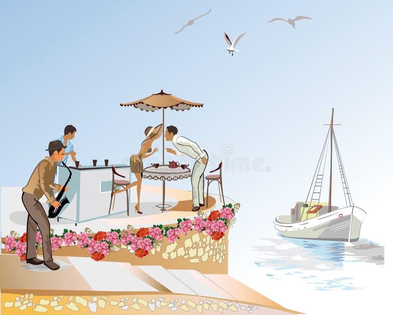 Μια ρομαντική ημερομηνία στον καφέ παραλιών απεικόνιση αποθεμάτων