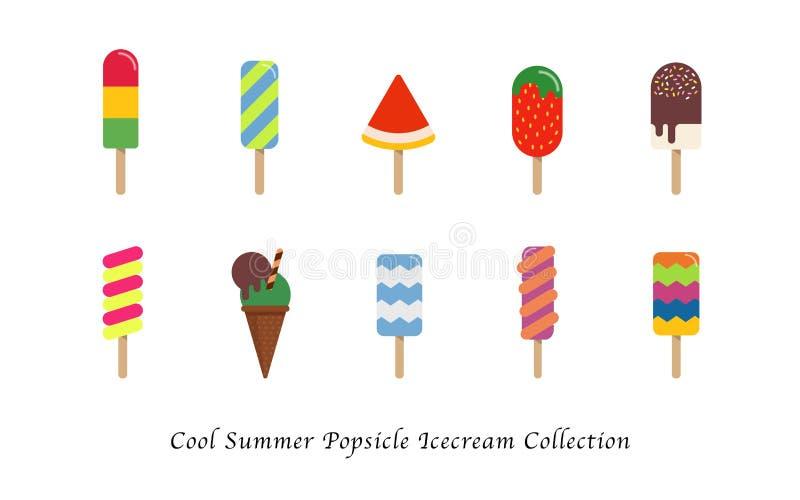 Μια δροσερή συλλογή επιδορπίων θερινού popsicle παγωτού γλυκιά ζωηρόχρωμη διανυσματική απεικόνιση