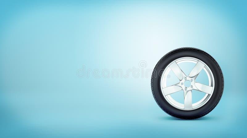 Μια ρόδα αυτοκινήτων με πέντε spokes που στέκονται στο πλαίσιο ροδών στο μπλε υπόβαθρο ελεύθερη απεικόνιση δικαιώματος