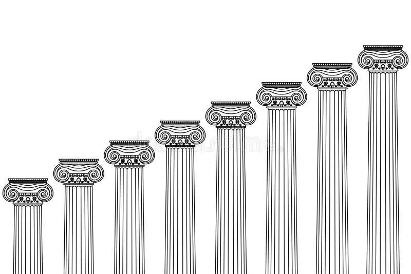 Μια σειρά ελληνικών, παλαιών, ιστορικών κιονοστοιχιών με τα ιόνια κεφάλαια και μια θέση για το κείμενο σε ένα άσπρο υπόβαθρο απεικόνιση αποθεμάτων