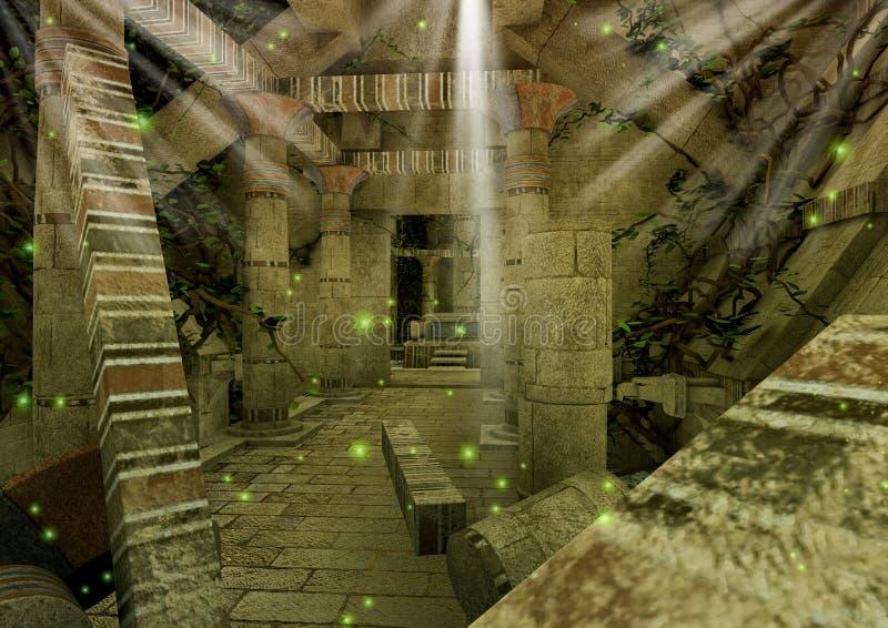 Μια σκηνή με έναν εγκαταλειμμένο ναό φαντασίας με τις στήλες διανυσματική απεικόνιση