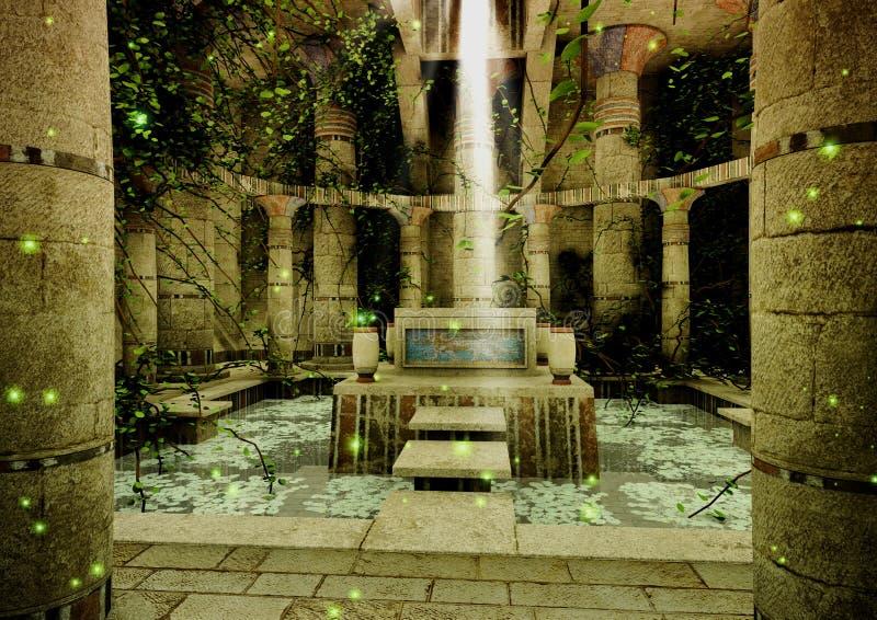 Μια σκηνή με έναν ναό φαντασίας, και μια σκάλα πετρών που οδηγεί σε έναν βωμό ελεύθερη απεικόνιση δικαιώματος