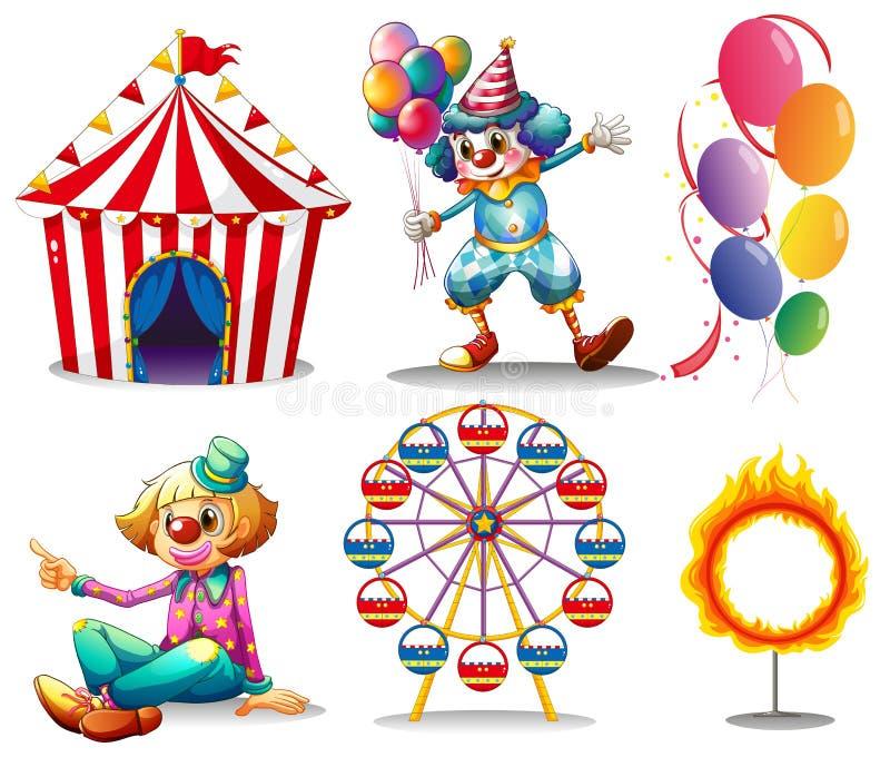 Μια σκηνή τσίρκων, κλόουν, ferris κυλά, μπαλόνια και ένα δαχτυλίδι της πυρκαγιάς απεικόνιση αποθεμάτων
